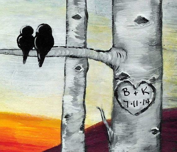 Personalized Wedding Gift Wood Aspen Trees Painting Bird Love Birds Anniversary For Birch Tree Paintings