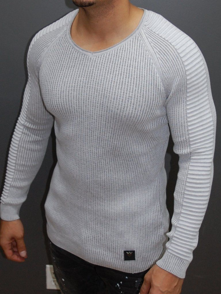 Vska Men Long-Sleeve Slimming Pullover Ripped Knit Jersey Sweater