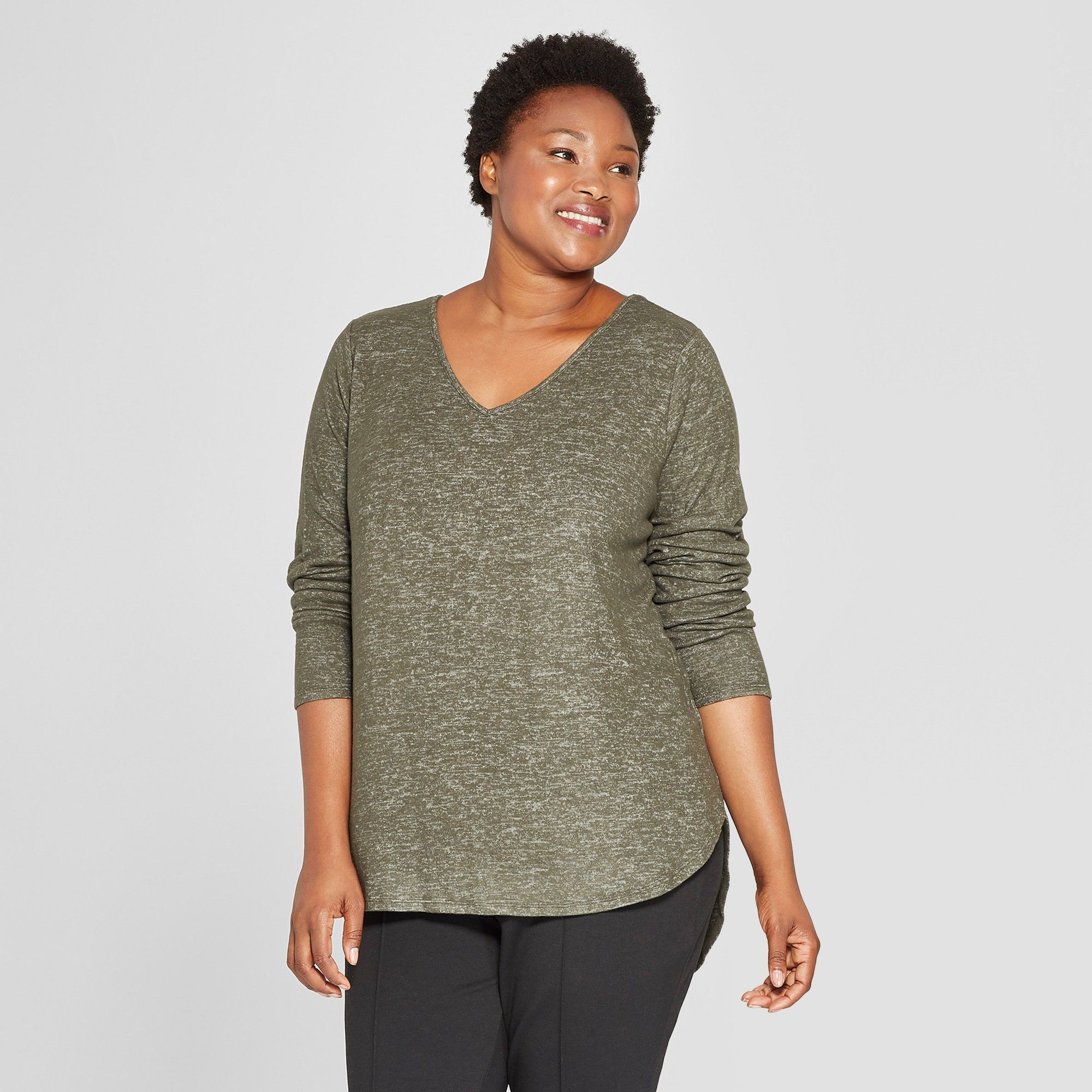 bc540e8dc Women's Plus Size Cozy Long Sleeve V-Neck Pullover - Ava & Viv Heather  Olive 1X