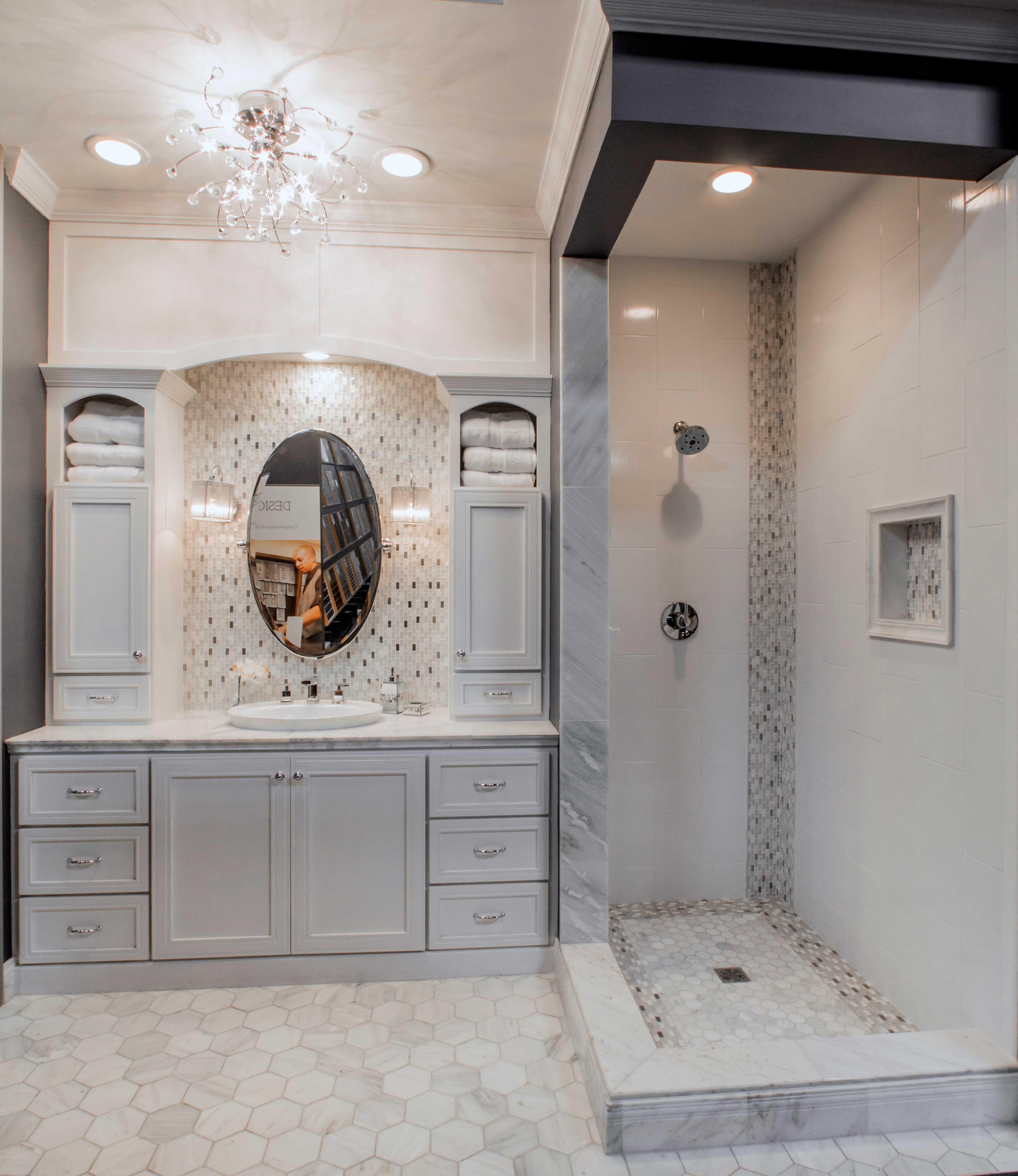 Website With Photo Gallery Elegant hexagon bathroom tile design Hampton Carrara Hex Marble Mosaic Tile https