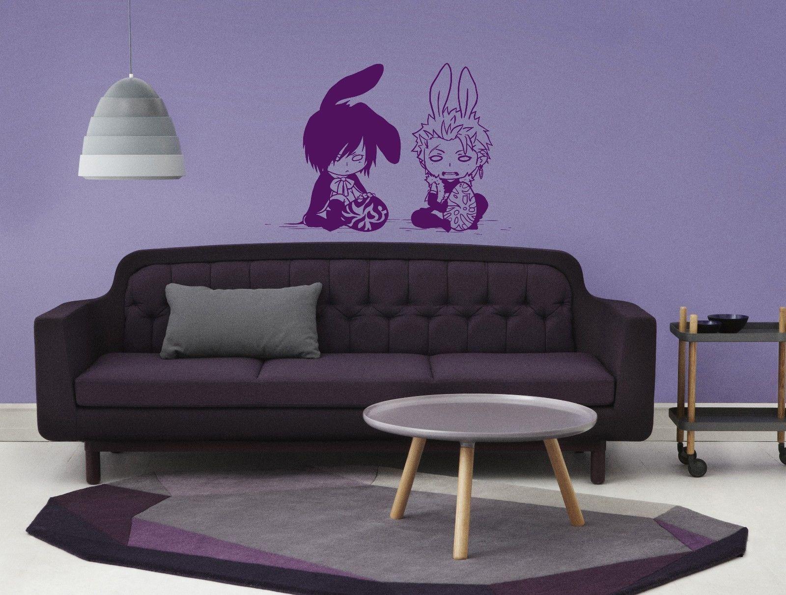 anime decal, anime vinyl, boys bunnies anime stylish wall art