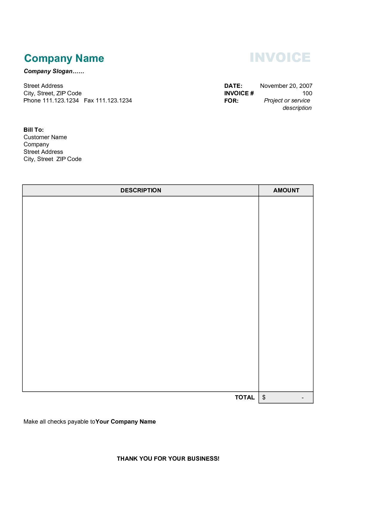 Awesome 17 Best Photos Of Printable Commercial Invoice Sample Business Simple Invoice  Form Within Company Invoice Forms