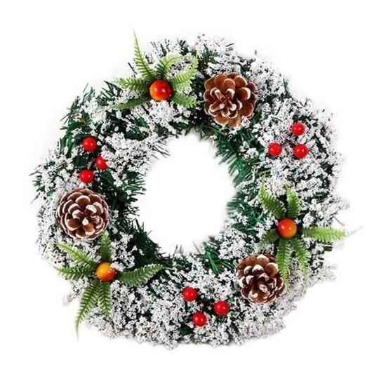30cm Couronne Décoration de Noël Couronne D'automne Guirlande de Noël Artificielles Fait à Main, Couronne de Fleurs Idéal Déco Noël #couronnedenoelfaitmain