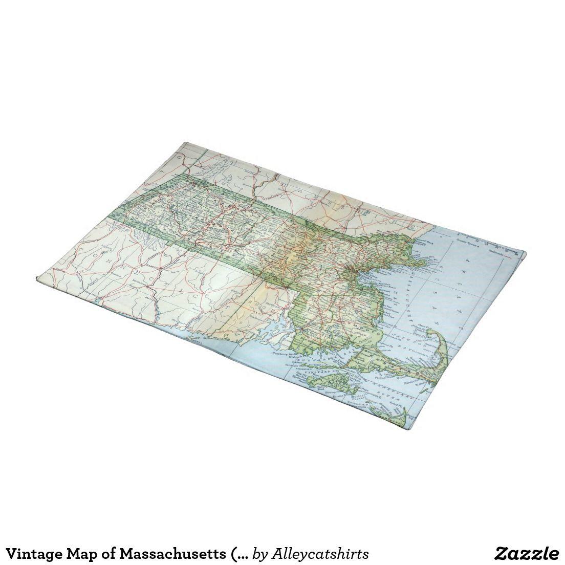 Vintage Map Of Massachusetts 1905 Cloth Placemat Zazzle Com Vintage Map Placemats Map