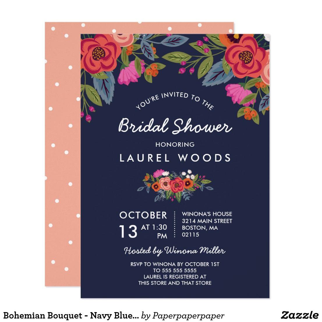 ec080f2da7f5 Bohemian Bouquet - Navy Blue Bridal Shower Card Floral bridal shower  invitation in dark blue with flower arrangements in orange