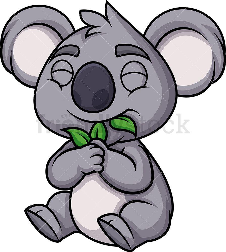 Koala Bear Eating Leaves Cartoon Vector Clipart Friendlystock Koala Drawing Cartoons Vector Koala