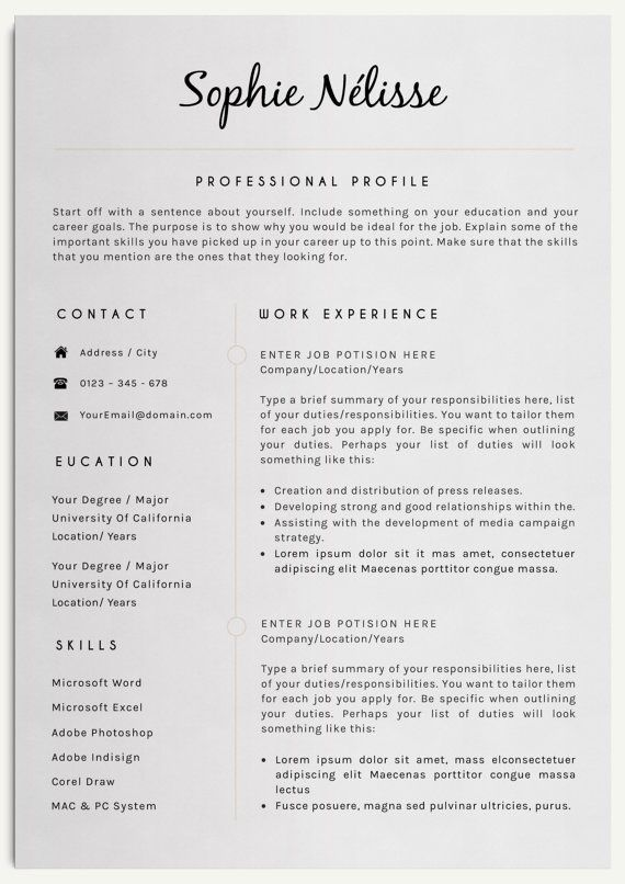SOPHIE NELISSE Professional Clear Resume Template for Word Instant - elegant resume templates