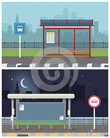 Vector Illustration Of Bus Stop With City Skyline And River With Boat In Bus Stop Design Bus Stop City Skyline