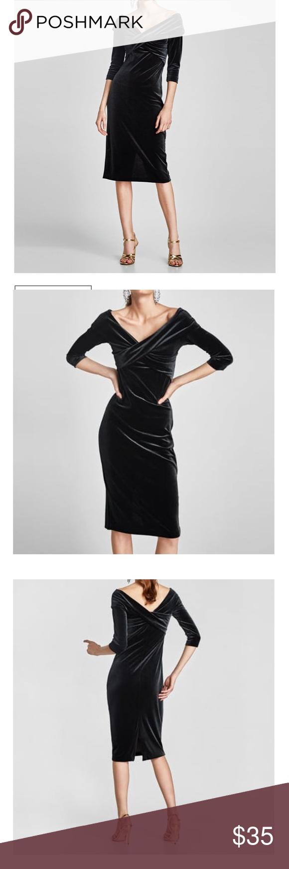 59e06785 Zara Velvet Tube Dress Velvet tube dress with crossover neckline and slit  in the back Zara Dresses Midi