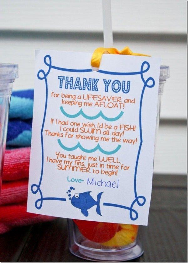 Swim Teacher Gift Idea | Crafty | Pinterest | Geschenk
