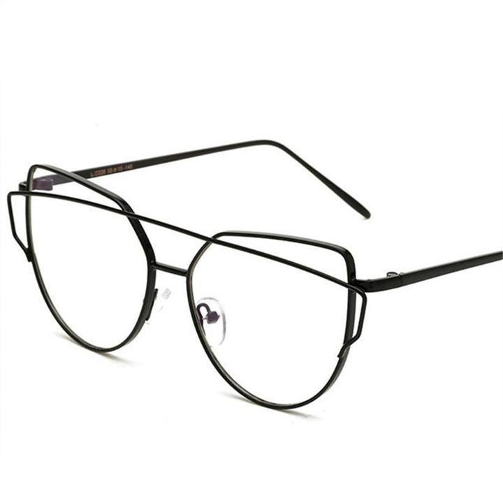 Photo of YOOSKE Frauen Optics Brillengestell Retro Double Beam Cat Eye Brillen Damen Transparent Lens Metallrahmen Brillen