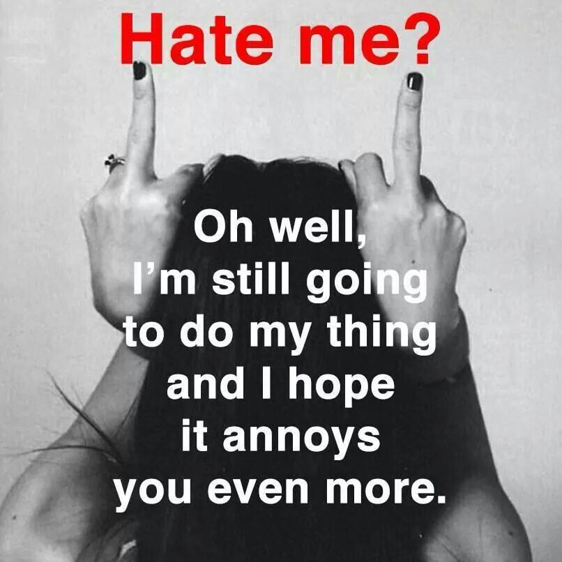 I Dont Care If You Hate Me Attitude Quotes Hate Life Quotes