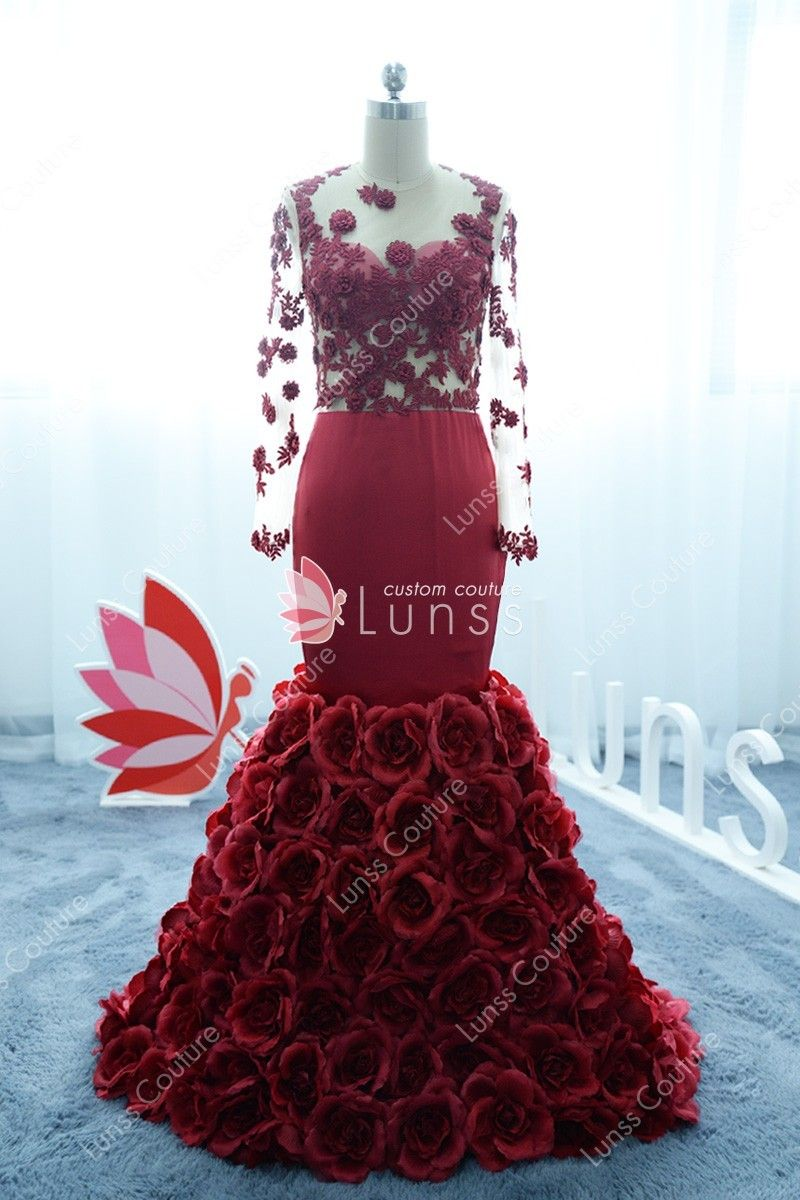 d8513c1566 Luxury Burgundy Lace and satin sheer Long Sleeve Mermaid Rosy Train Prom  Dress