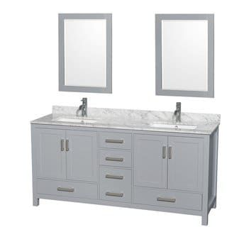 Wyndham Collection Sheffield 72 Inch Gray Double Vanity