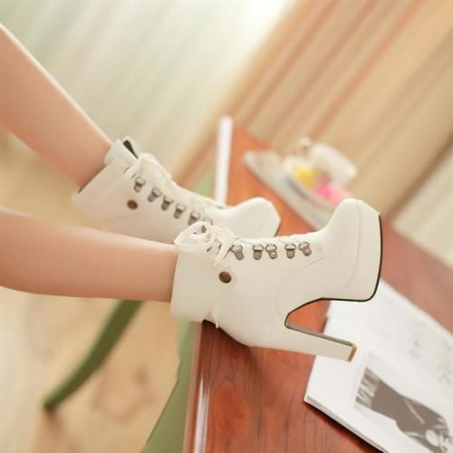 Stiletto High Heel Lace Up Ankle White Martens Boots