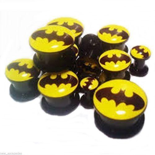 PAIR-Batman DC Comics Black Acrylic Screw On Stash Plugs 04mm/6 Gauge Body Jewe