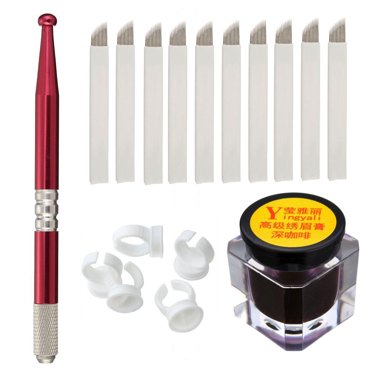 세미 영구 눈썹 메이크업 문신 키트 세트 Microblading 수동 문신 펜 + 18 핀 바늘 + 링 잉크 컵 + 문신 잉크