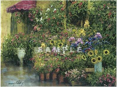 Flower Shop with Red Canopy Painting Print by Artist Donny Finley & Flower Shop with Red Canopy Painting Print by Artist Donny Finley ...