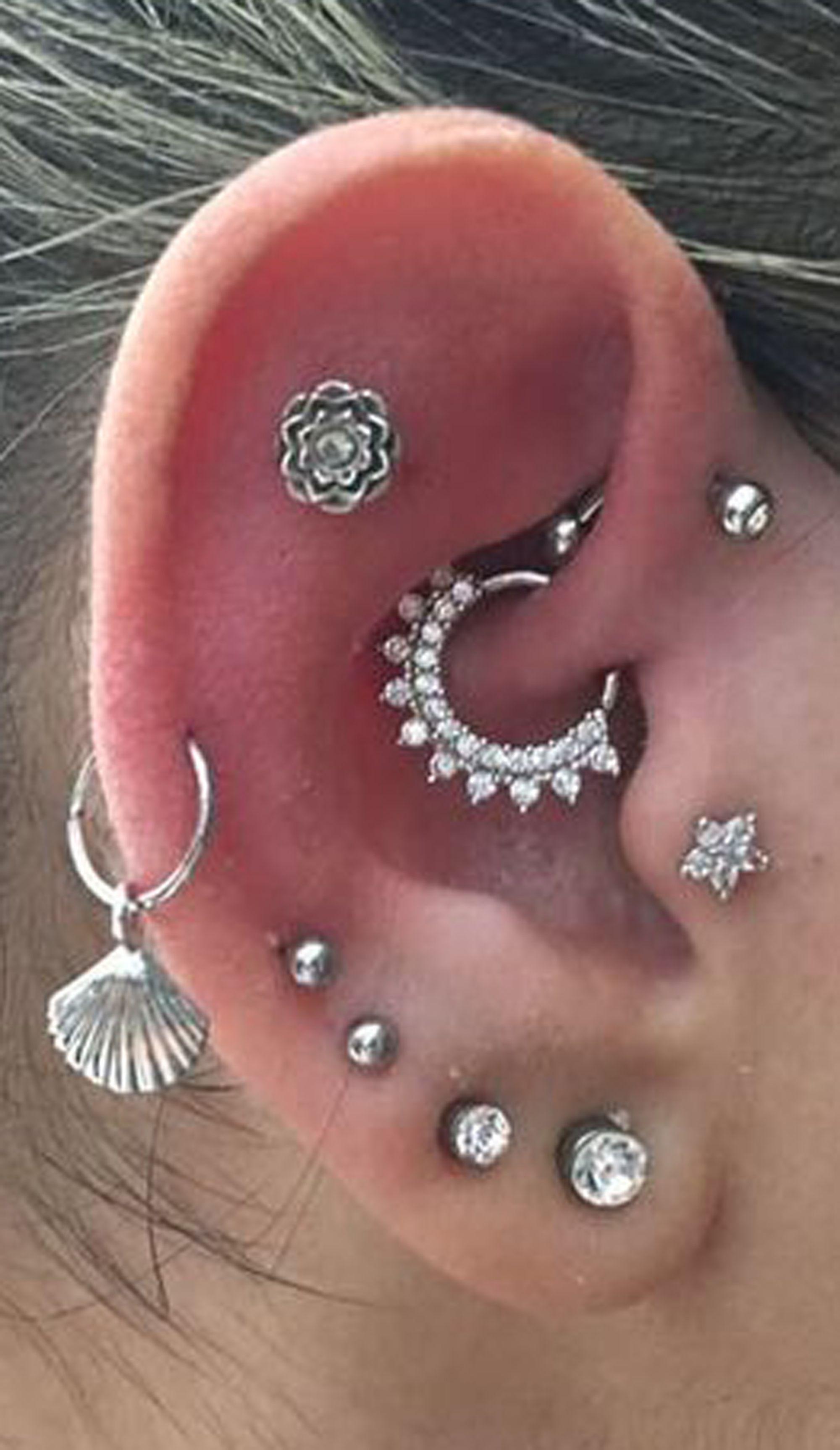 Ear lobe piercing names  cute multiple ear piercing ideas for women flower cartilage tragus