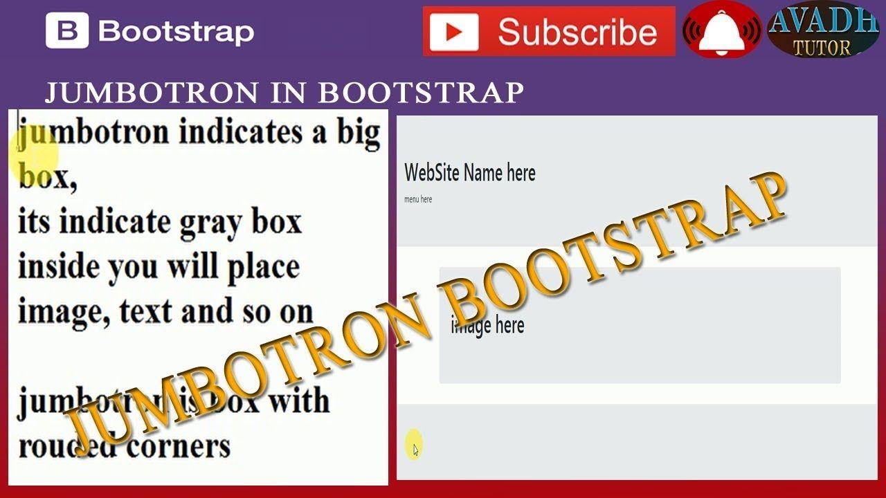 Jumbotron Bootstrap Example Bootstrap Tutorial Avadh Tutor Tutor Tutorial Website Names