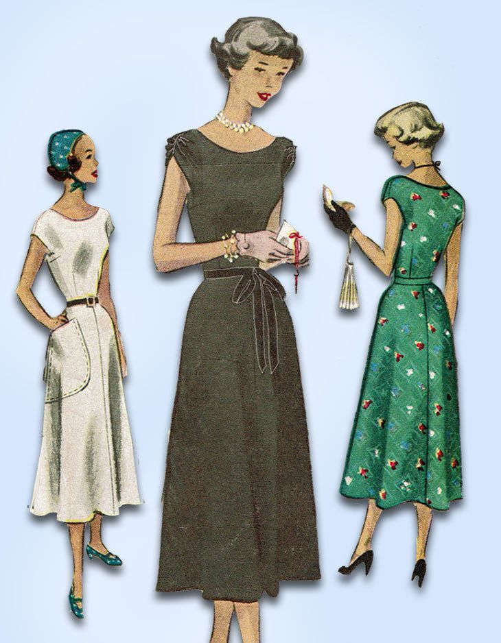 1940s Vintage McCall Sewing Pattern 7893 Misses Dress Easy Cap ...