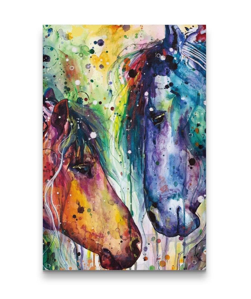 Two Horse Colorful Watercolor Painting Canvas Prints