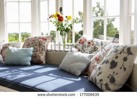 Window Seat In Modern House - stock photo