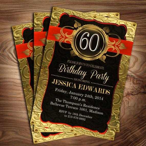 Gold 60th Birthday Invitation Adult Customized by PartyInkStudio