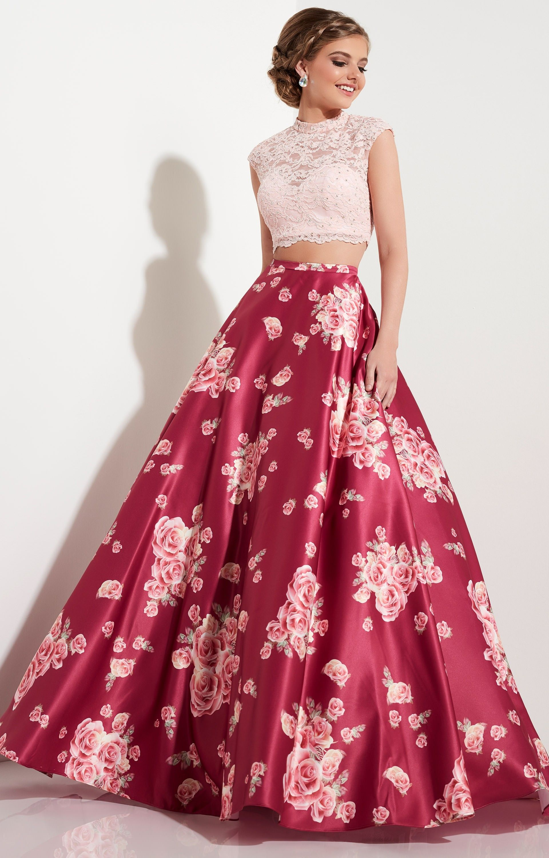 Rose wine studio piece ball gowns cap sleeves long lace