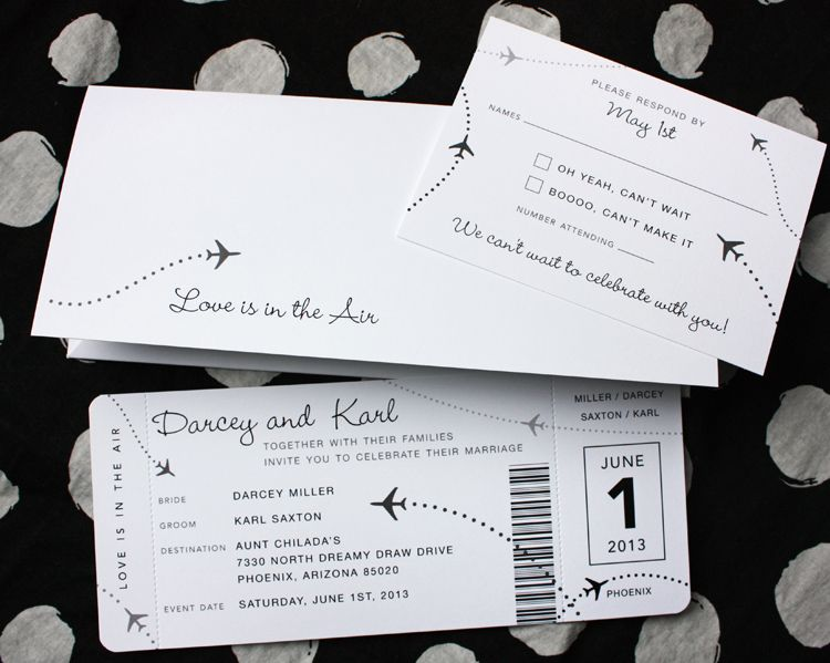 Black  White Clean  Simple Airplane Ticket Wedding Invitations