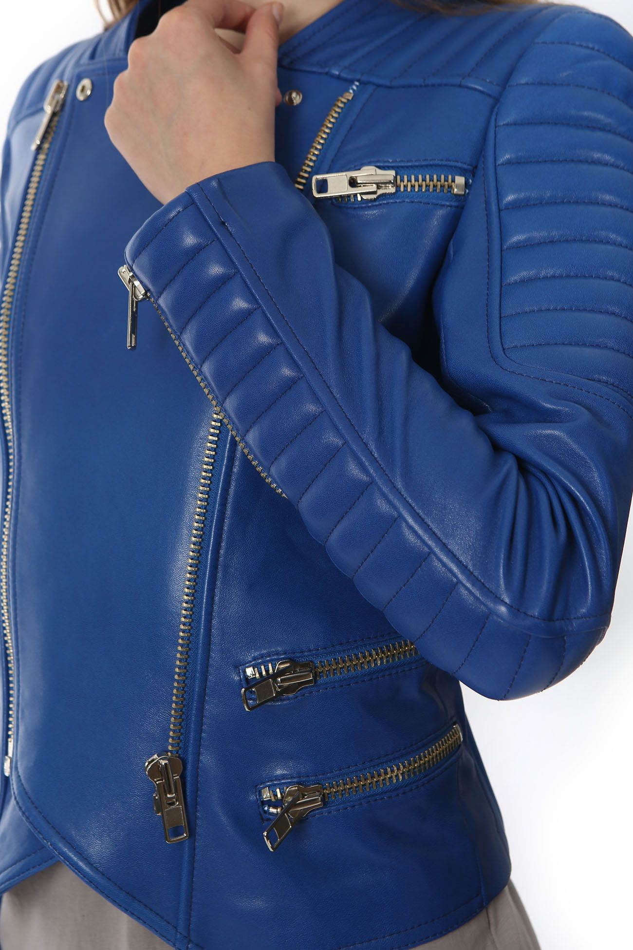 Blue Quilted Leather Jacket Minusey Blue leather