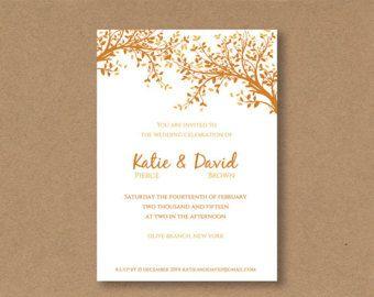 DIY editable and printable Wedding Invitation Template orange Leaves