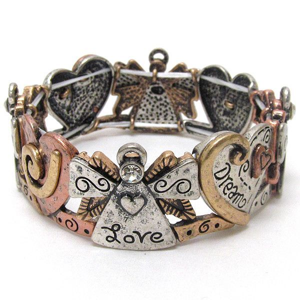 Inspirational Message on Angel and Heart Stretch Bracelet