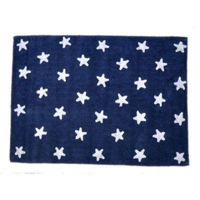 Tapis enfant souple bleu marine étoiles blanches (120 x 160 cm)