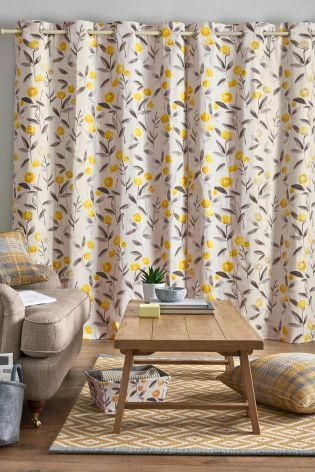 Buy Ochre Eden Floral Print Eyelet Curtains from the Next UK online ...