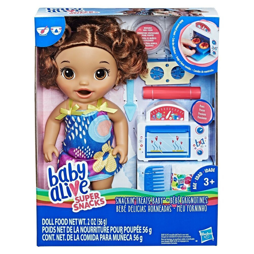 Baby Alive Snackin Treats Baby Brown Curly Hair With Toy Oven Hasbrobabyalive Dollswithclothingaccessories Baby Alive Baby Alive Dolls Baby Dolls