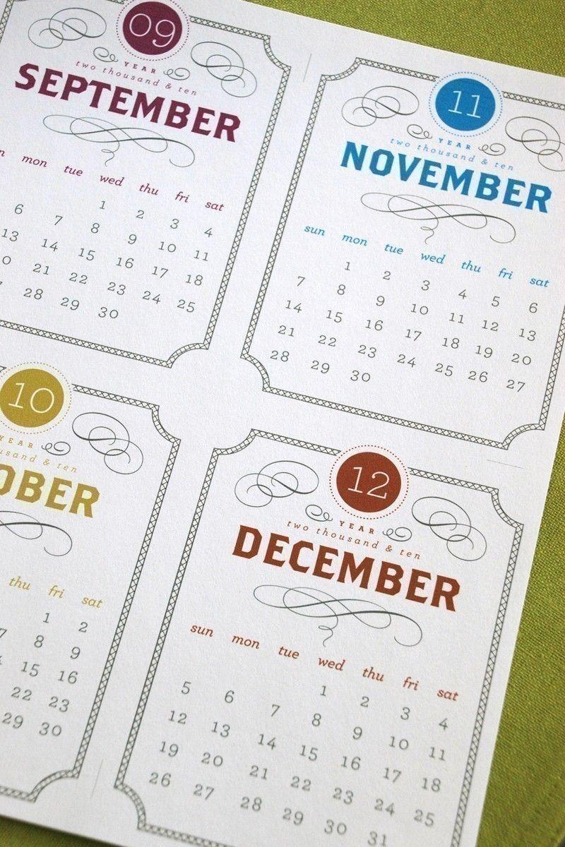 Typography Calendar Download : Vintage printable desk calendar  digital instant