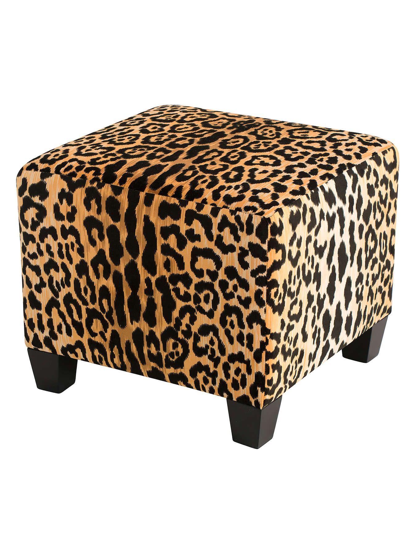 leopard print square ottoman