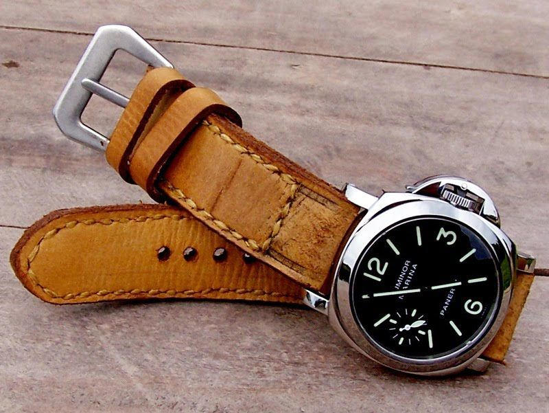 Gunny Hand-made leather watch straps with Panerai Luminor Marina Automatic 44mm Steel Watch