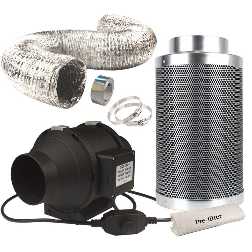 Casolly 6Inch Inline Fan Carbon Filter Fan Combo 315 CFM