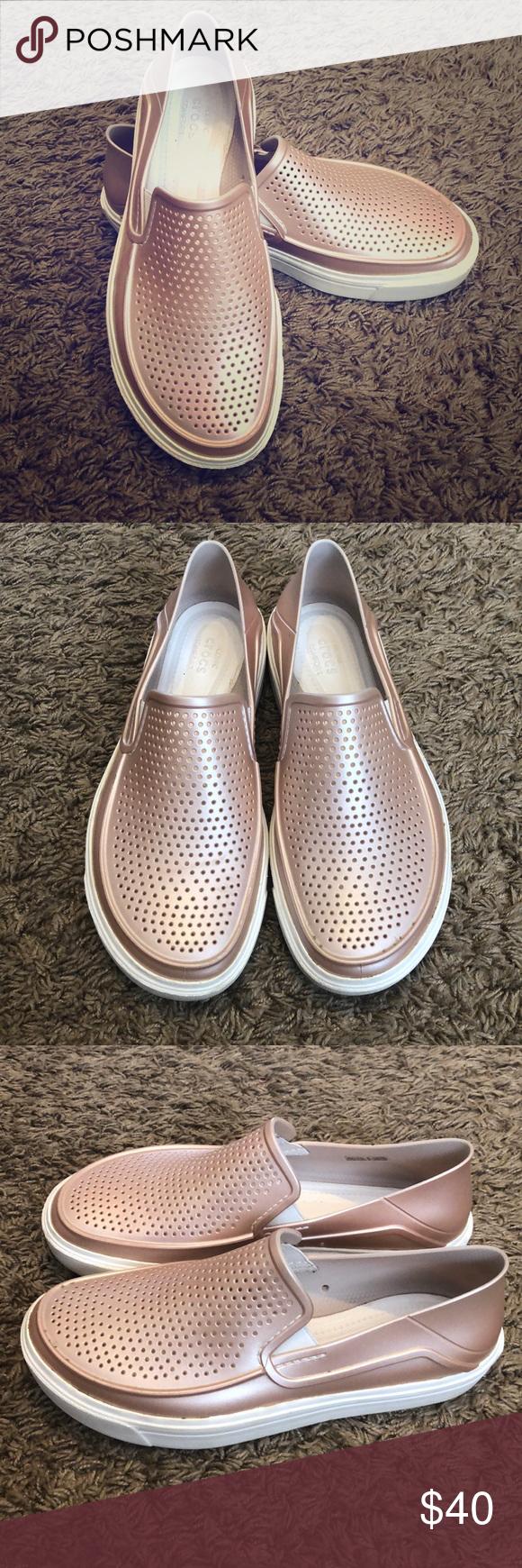 0605bd310ad7 Women s CitiLane Roka Metallic Slip-Ons Beautiful and comfortable rose-gold  metallic vintage-inspired sneakers. CROCS Shoes Sneakers