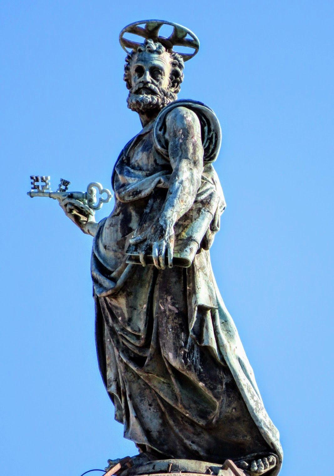Bronze Statue Of St Peter Atop Trajan's Column, Rome