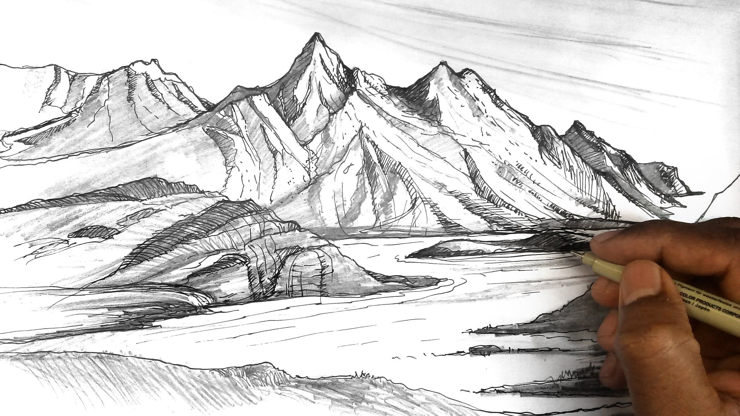 Pin By Kathe Welch On Drawings Mountain Drawing Mountain Sketch Landscape Drawings