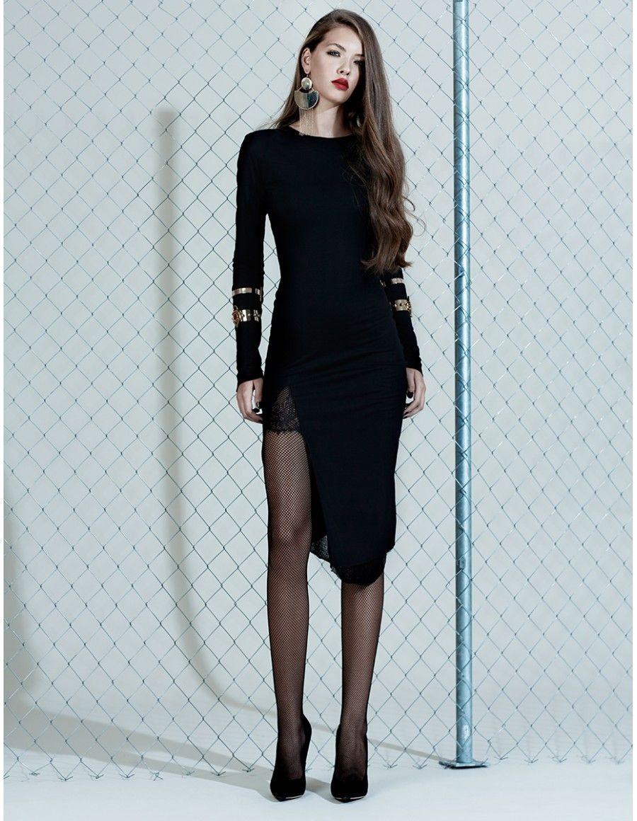 Midi, black, long sleeves dress - MANURI   Evening dresses ...