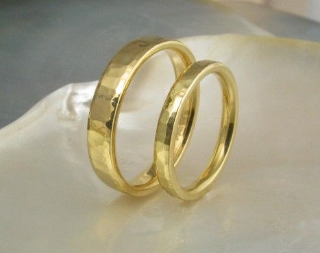 Wedding Ring Set In 21k Solid Yellow Gold Hand Forged And Hand