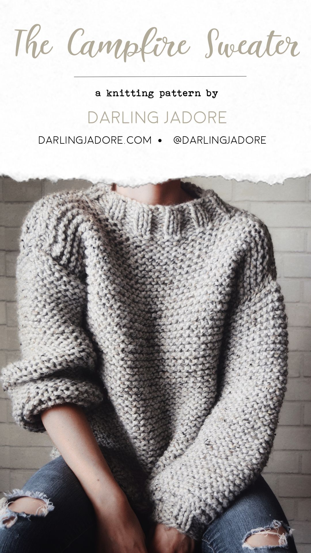 Campfire Sweater Knitting Pattern, Chunky Knit Sweater Pullover Pattern | DarlingJadore.com | @DarlingJadore