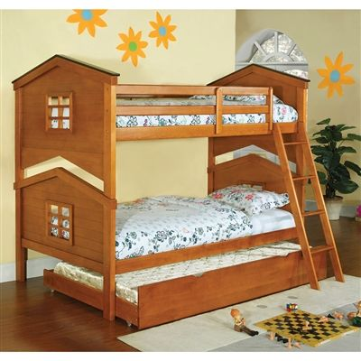Castle Pines Twin/Twin Bunk Bed Doll House Style Oak Finish w/ Trundle
