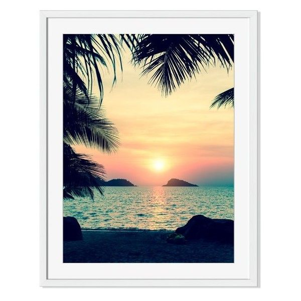 1989cb500d3  Sunset on a Tropical Beach  Framed Photographic Print Reviews ❤ liked on Polyvore  featuring home