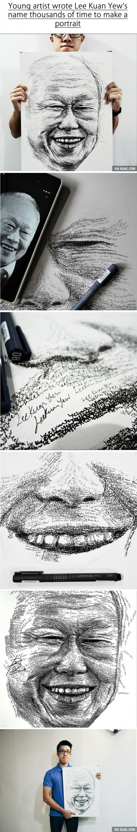 Aspiring Artist Creates Amazing Portrait Of Lee Kuan Yew By Writing His Name 18 000 Times R I P Mr Lee Aspiring Artist Lee Kuan Yew Portrait