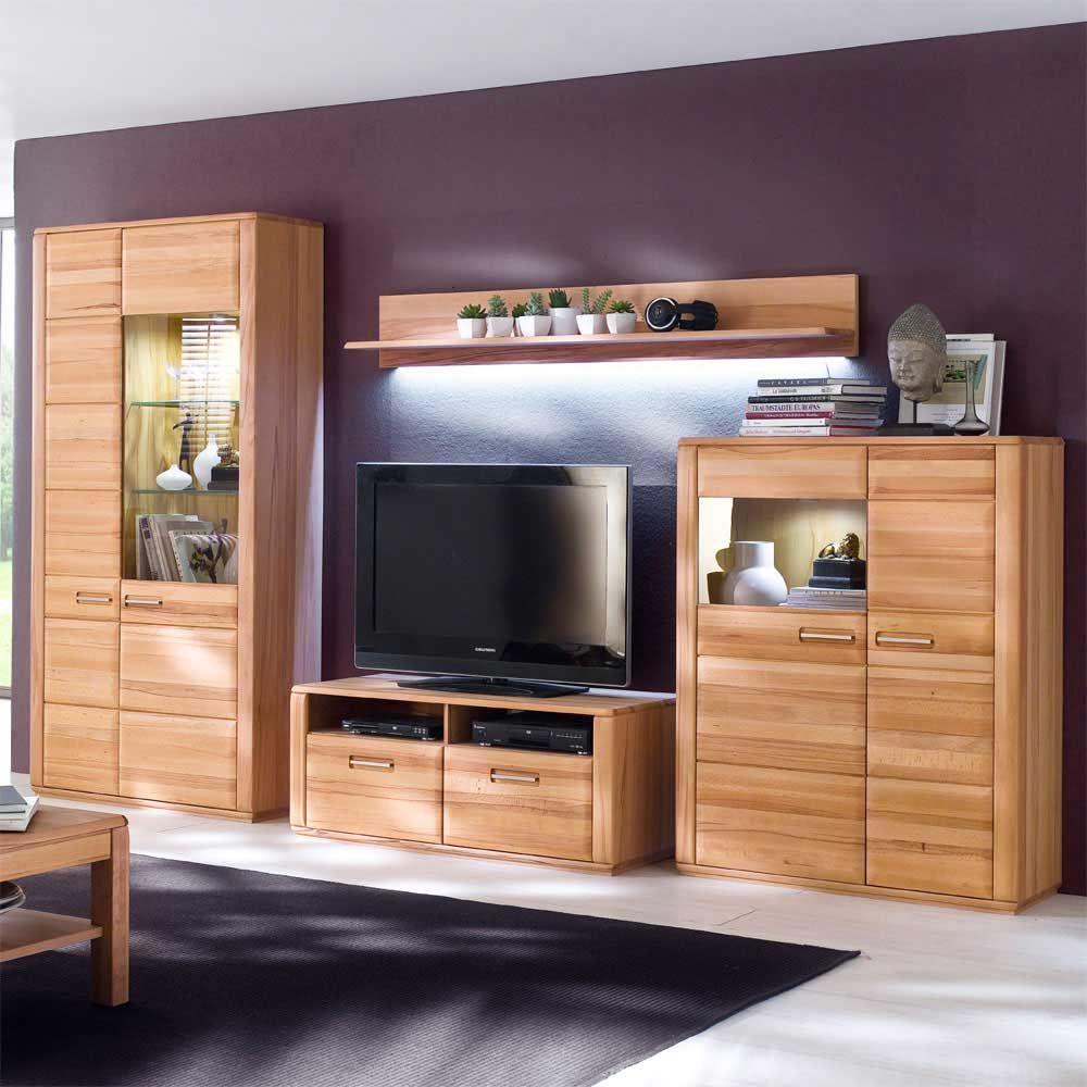 Kernbuche Wohnzimmer, wohnwand aus kernbuche massivholz geölt (4-teilig) jetzt bestellen, Design ideen